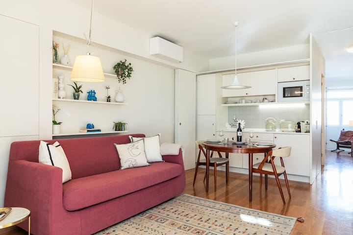 Amazing living room with fully equipped  kitchenette