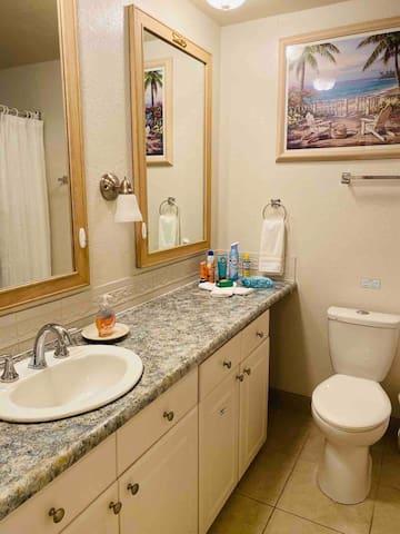 Full bathroom off the Queen bedroom