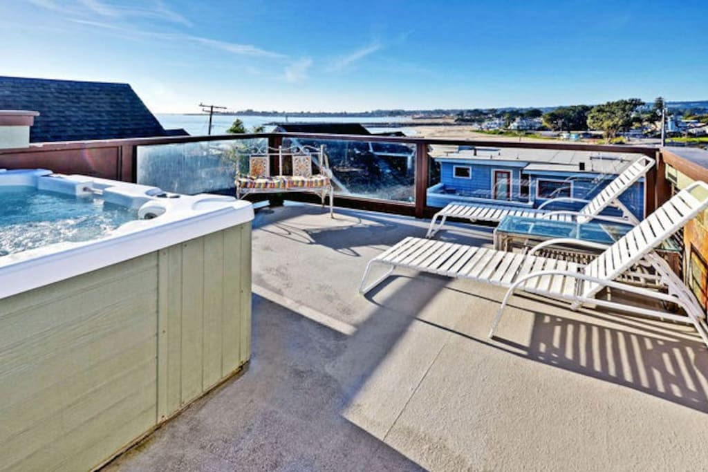 The rooftop deck was just completely remodeled and expanded, and a new hot tub was installed