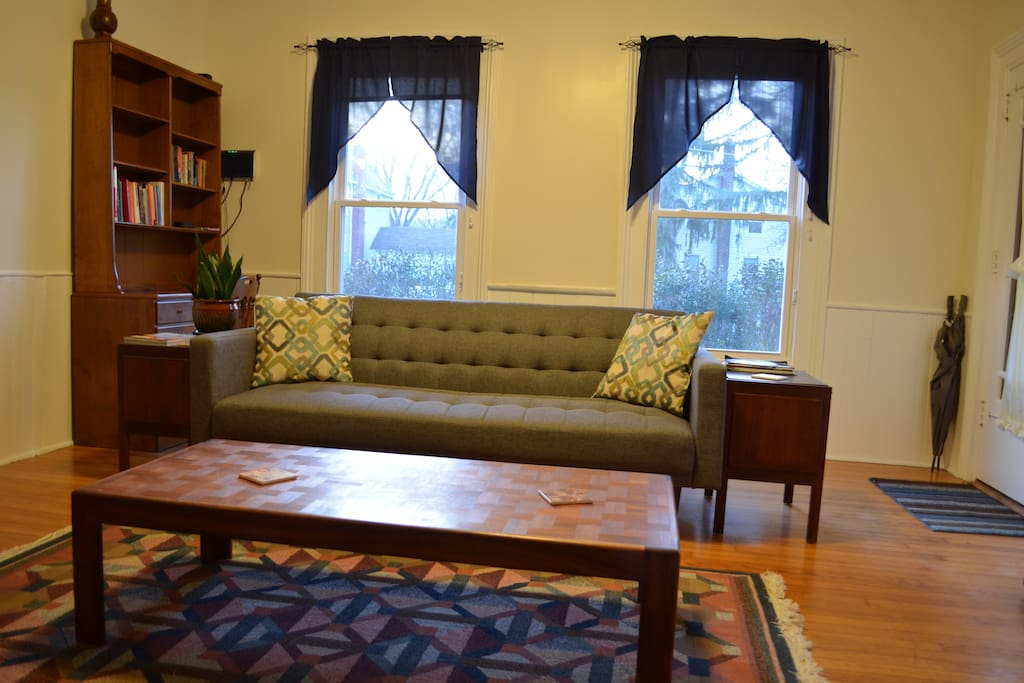 Living room with full-sized futon