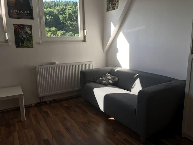 Ruhiges Zimmer mit Blick in's Grüne