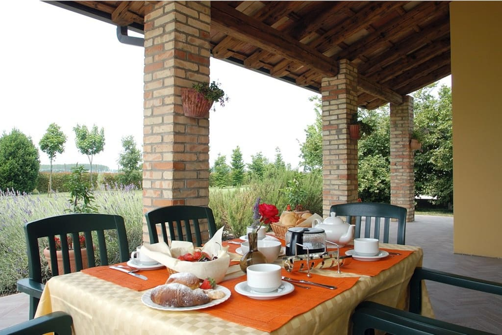 Bed and Breakfast with pool near Udine,  you can enjoy your breakfast also on the terrace of our apartment Airone