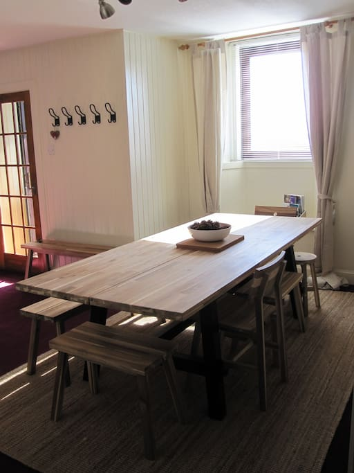 Dining area - Open plan to the living room.  Large table fits 8 people