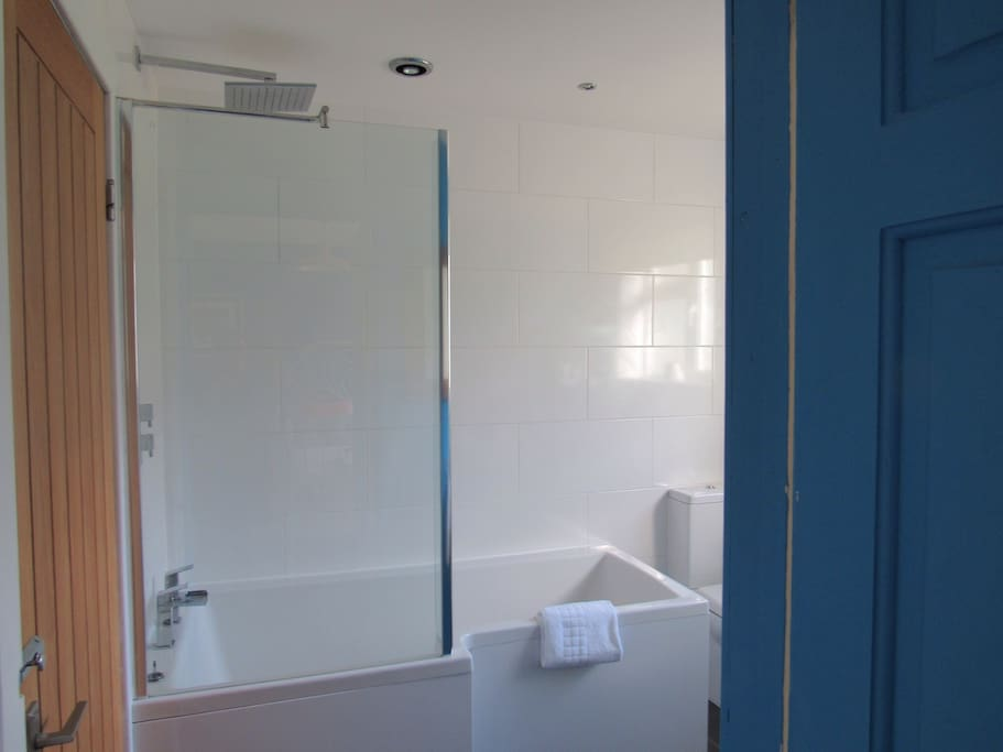 Modern ensuite bathroom with rain shower bath, sink, toilet, toiletries and towels provided