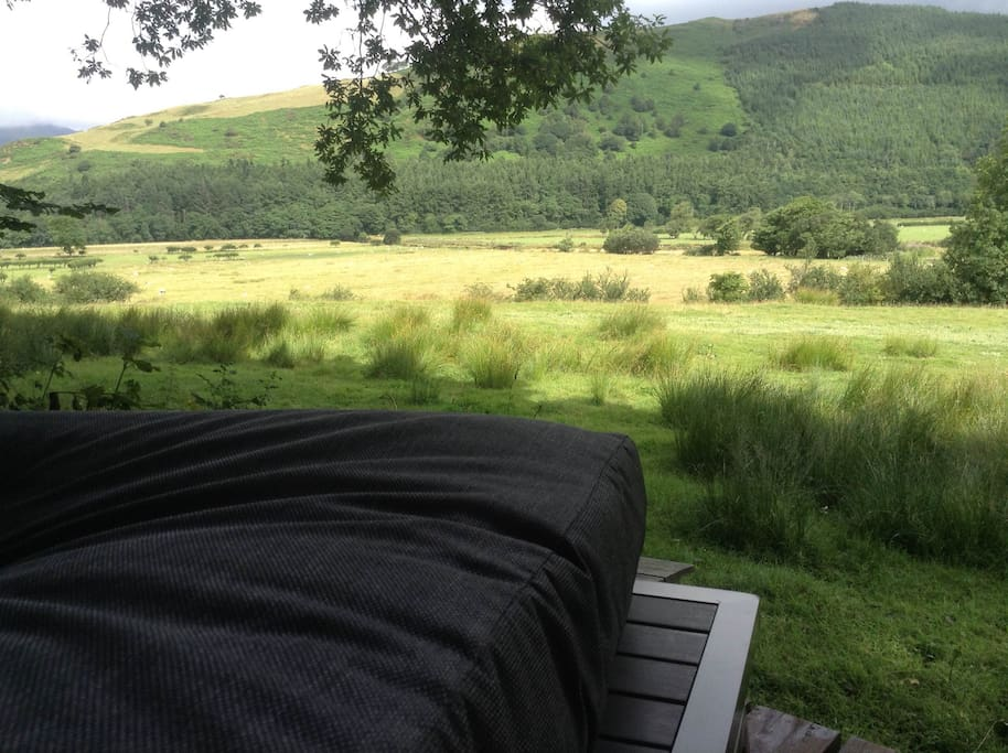 View over Dyfi Valley from covered deck