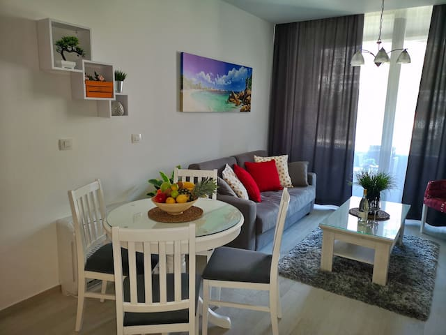Dining area with living room