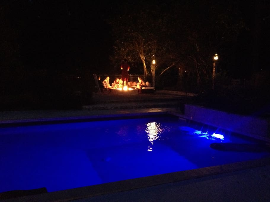 Pool & Fire Pit Night View