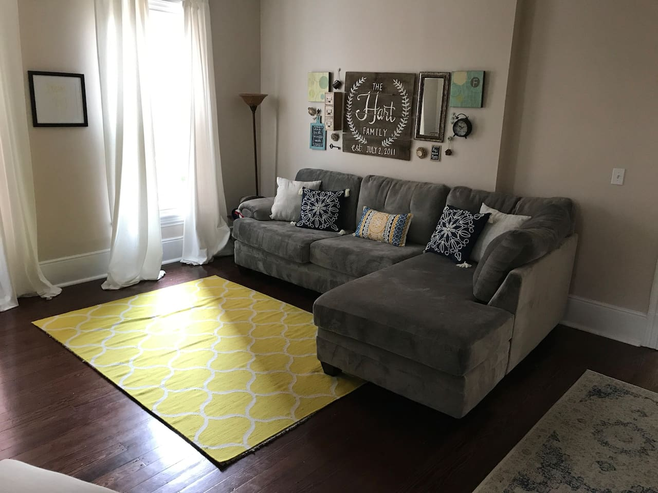 Comfortable living room. Couch can sleep 2 adults comfortably.