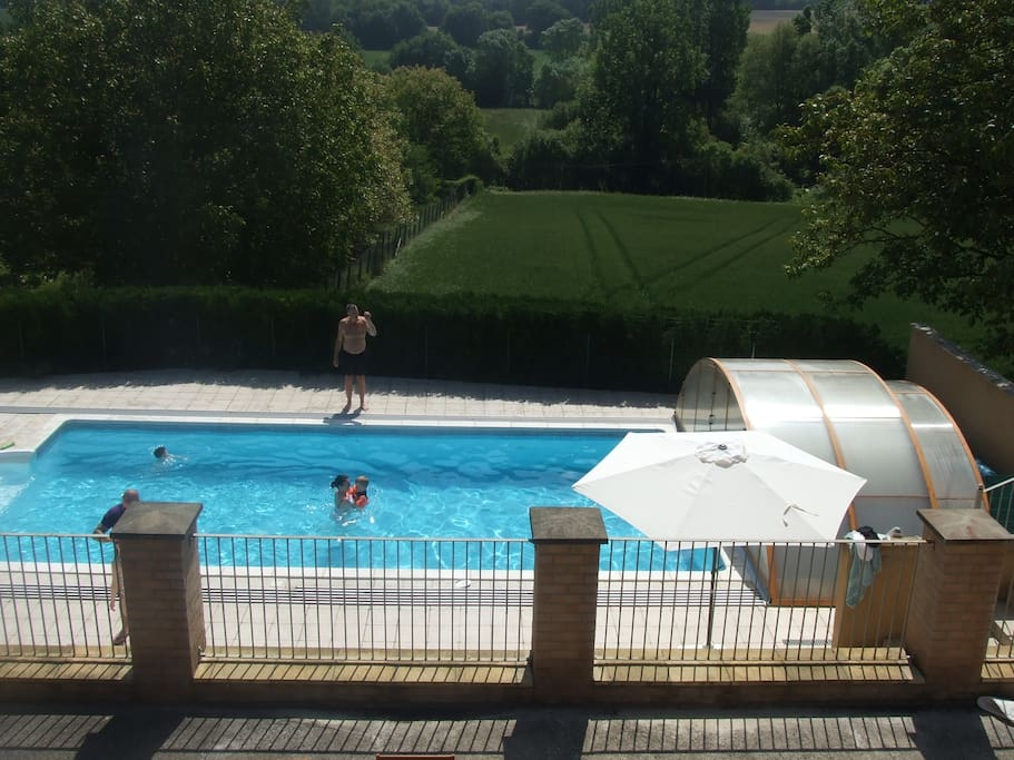 View of the pool with the top off