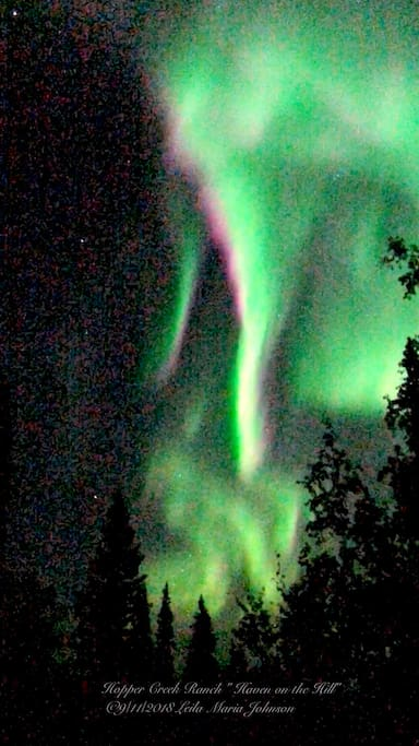 Auroral KP 6 activity on 9/11/ 2018.  I took this photo standing our deck that faces to the south. The same way the apartment living room window faces.