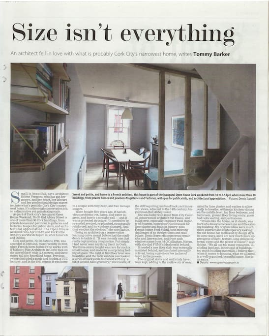 An article about the house published in the Irish Examiner in Spring 2015.