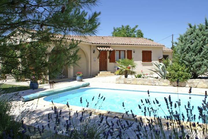 Child friendly family villa with private swimming pool and play equipment in between the vineyards