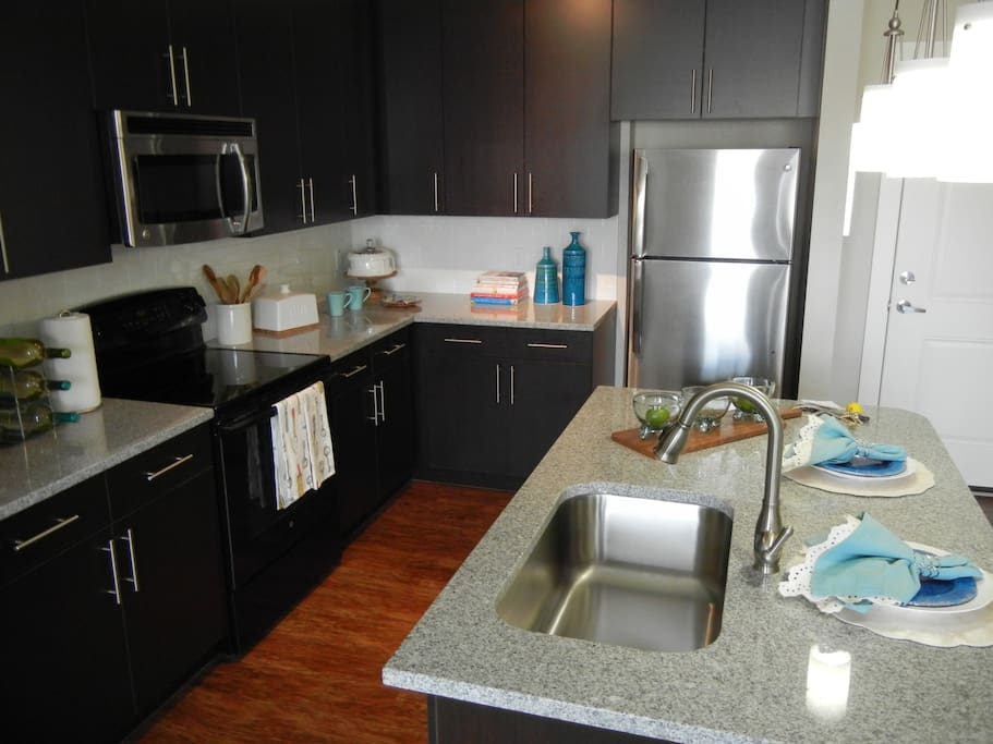 Stainless steel appliances and countertops accessible to persons with disabilities