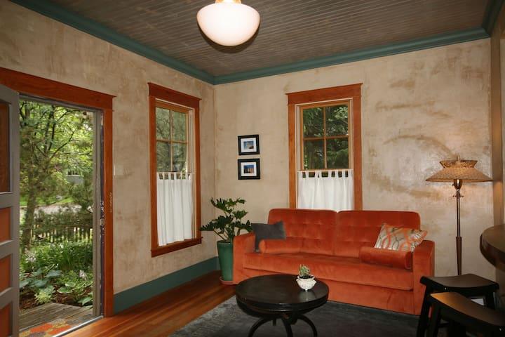 Fun comfy furnishings and original artwork