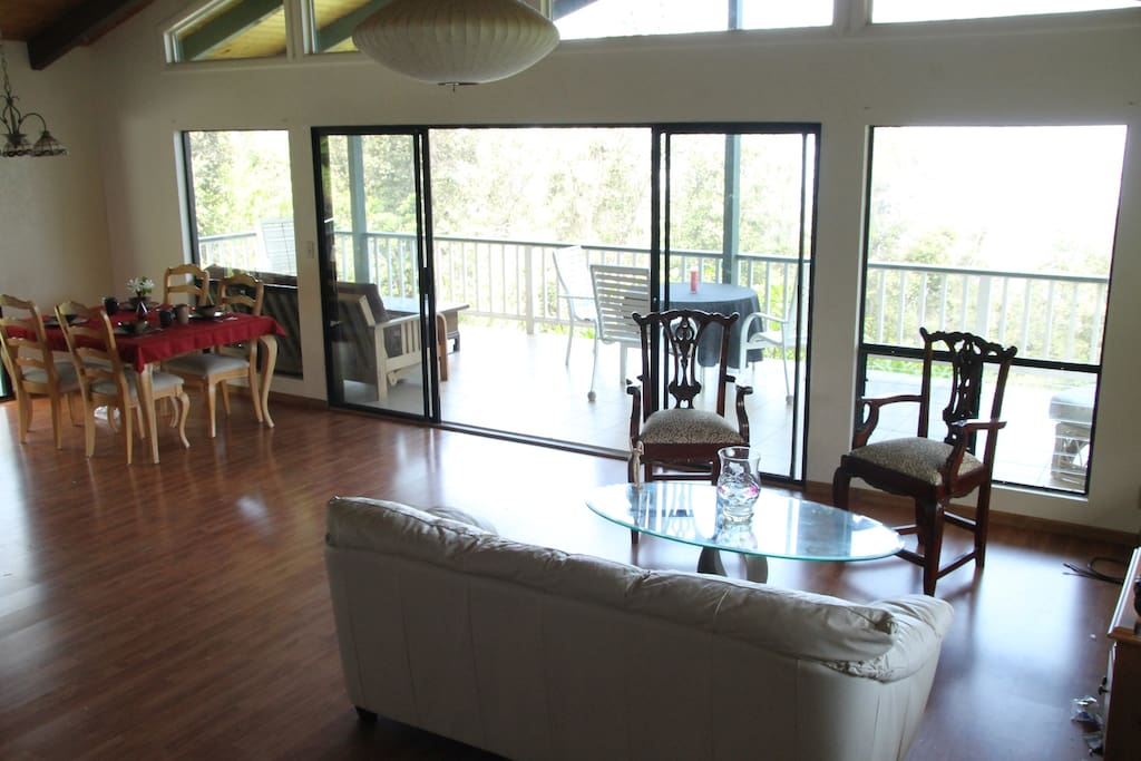 The spacious, airy living and dining area is perfect for socializing and relaxing