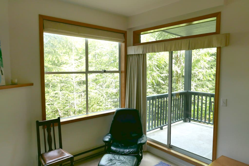 View from the living room out onto the private deck with forest views