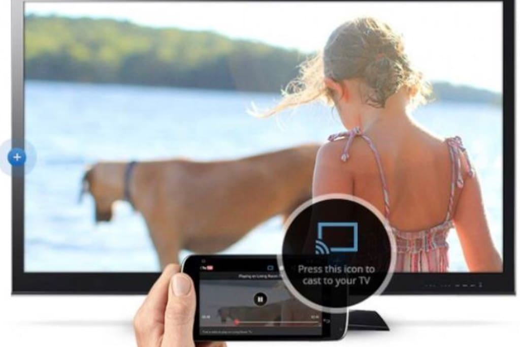 Press the chromecast icon on your phone to watch on TV.
