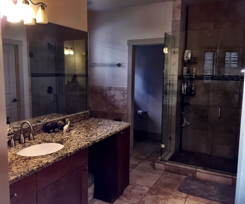 Luxurious master bathroom.  Includes jacuzzi tub, large stand up shower, dual vanity, and private commode.