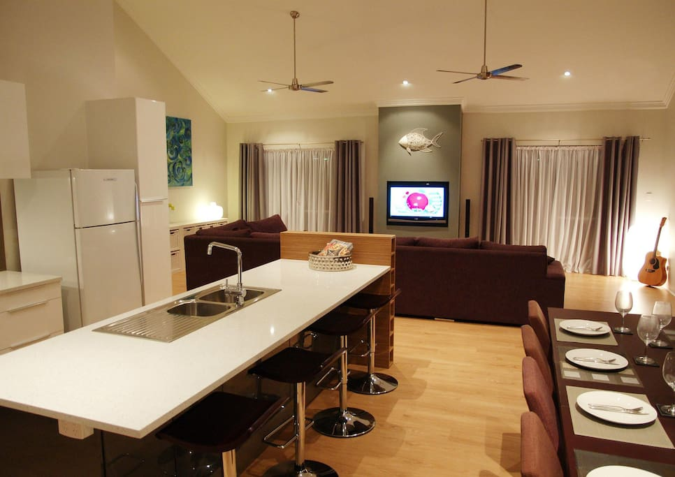 Kitchen, dining, living area