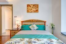 东南亚风格次房。三个房间里,我最喜欢的床品颜色,嘻嘻
