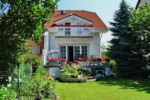 Budapest Airport, house with flower garden. Room B