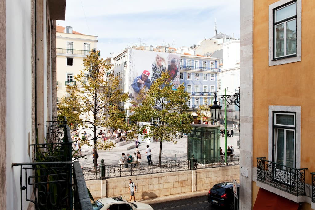 Your balcony bedroom view. The most central Square in Lisbon.