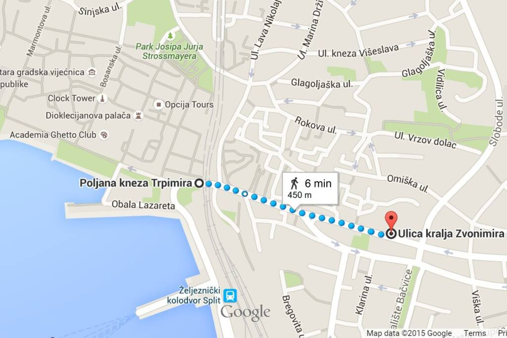 Fro the apartment to the DIOCLETIAN PALACE and OLD CITY CENTER