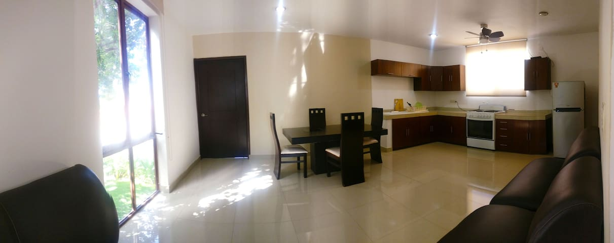 Living space and kitchen (wide angle)