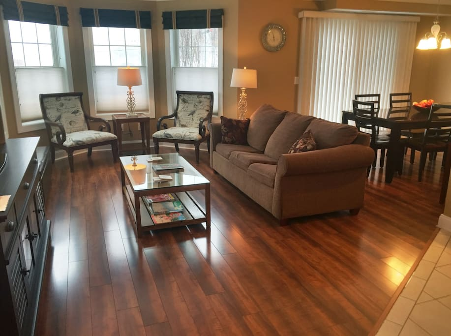 Living & Dining Rooms with new hardwood