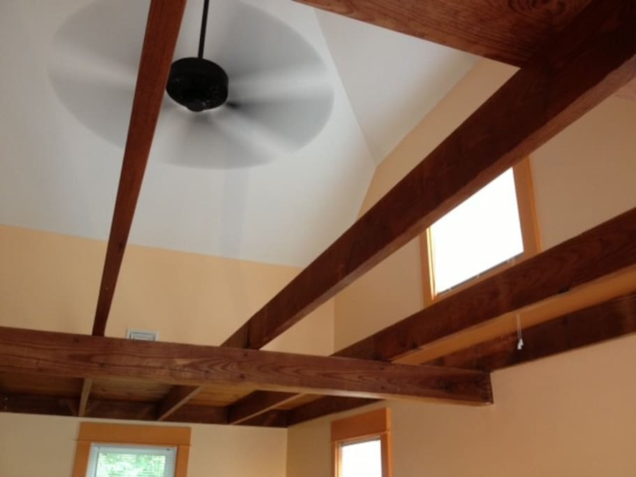 Jailhouse Union Cottage Master Suite Vaulted Ceiling with Fan