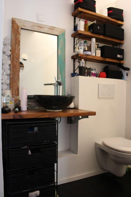 La salle d'eau et ses toilettes