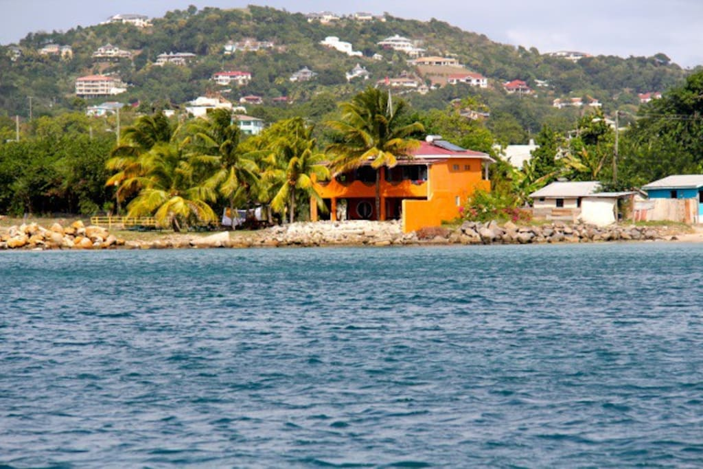 View of the guesthouse from the water
