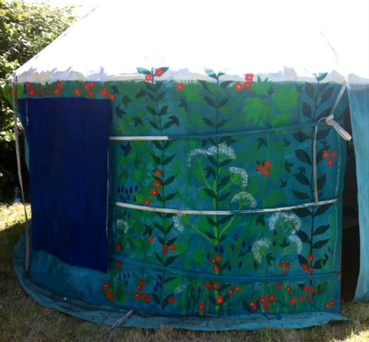 hand painted yurt,four opening windows