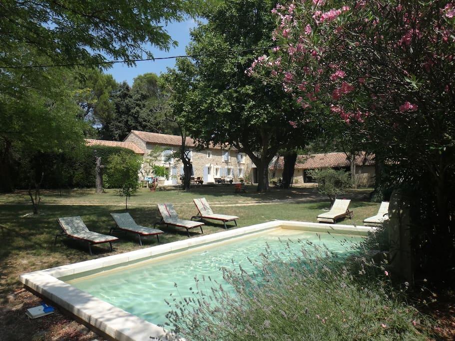 La bassin provençal permet de se rafraîchir et de jouer mais n'est pas adapté à la natation. (profondeur 1 m)