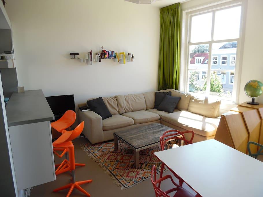 Livingroom with comfortable sofa