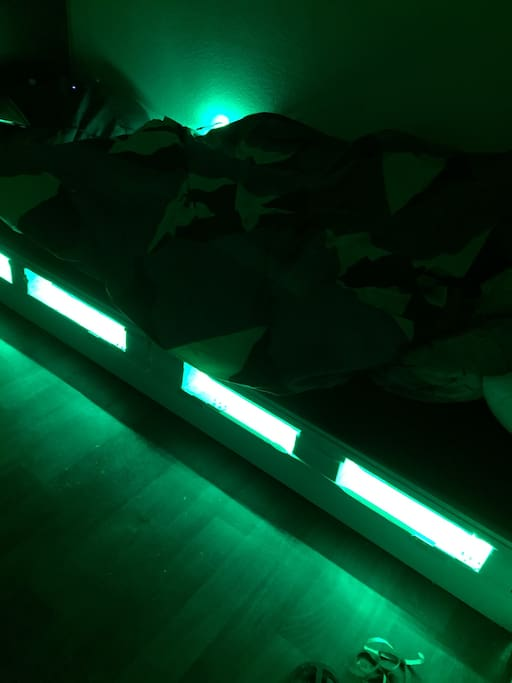 The bed has multiple LED color options to express the mood you desire.