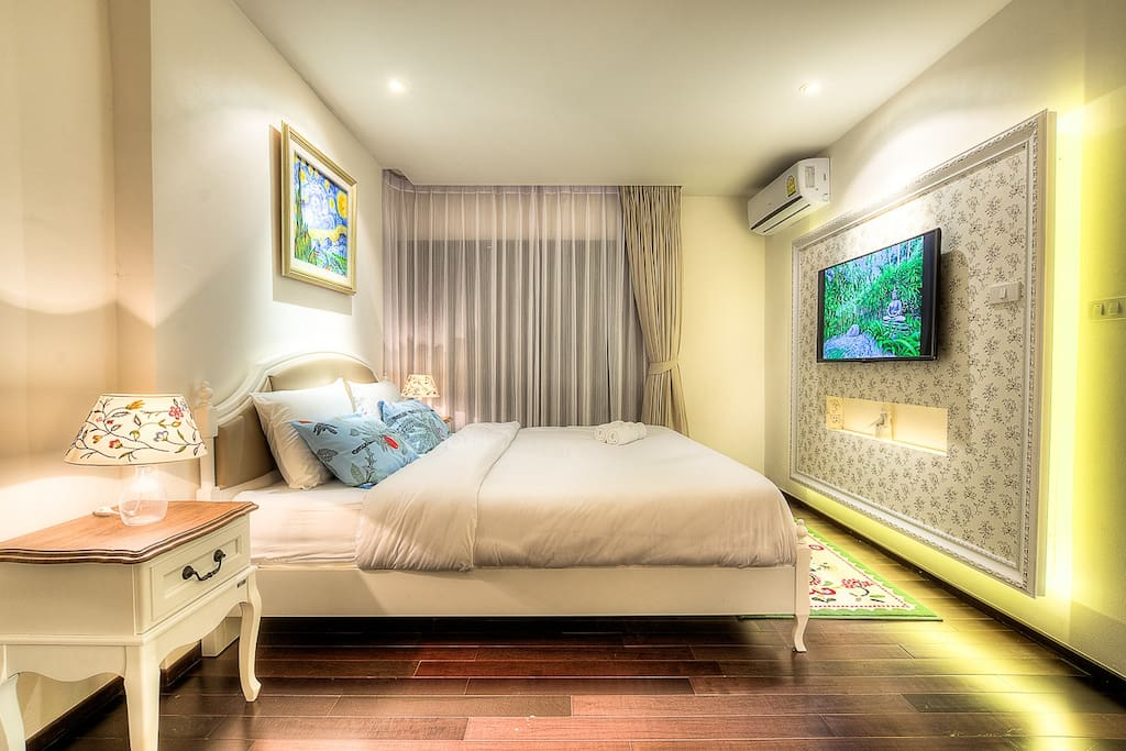 6 feet Bed with big screen LED TV
