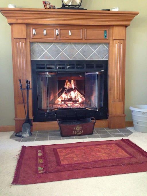 Warm up by cozy fireplace
