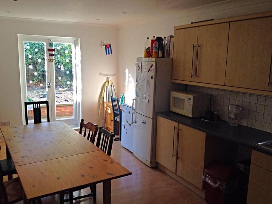 Spacious kitchen and the garden