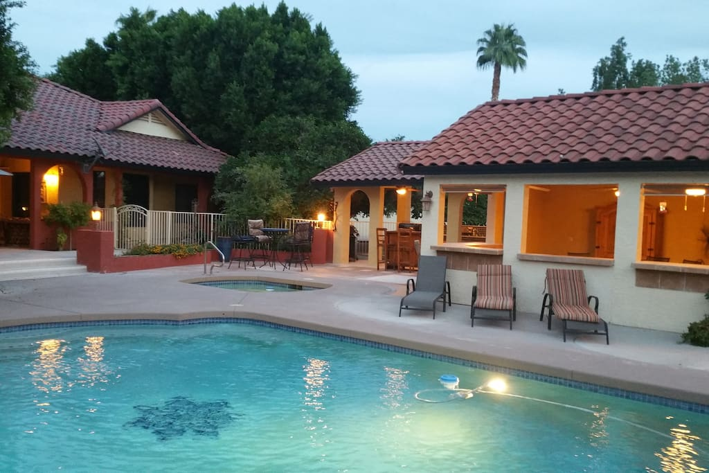Hacienda one bedroom with great pool guesthouses for for Indoor pool mesa az