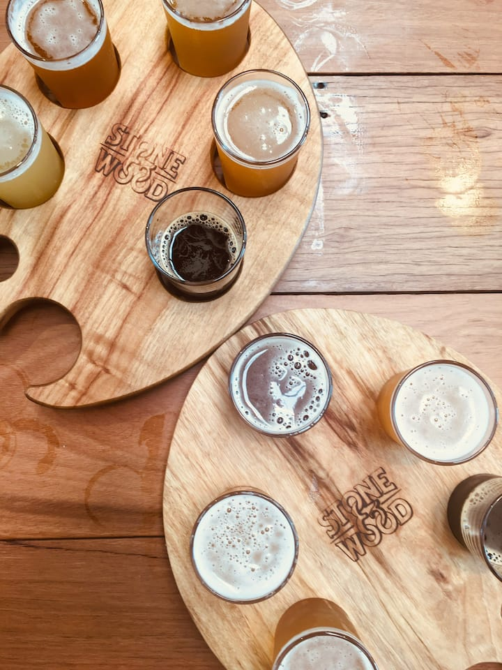 Tasting paddle included at stone n wood