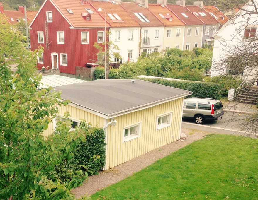 This is the guesthouse, our studio, situated by itself 25 meters from our house, free parking on the street.