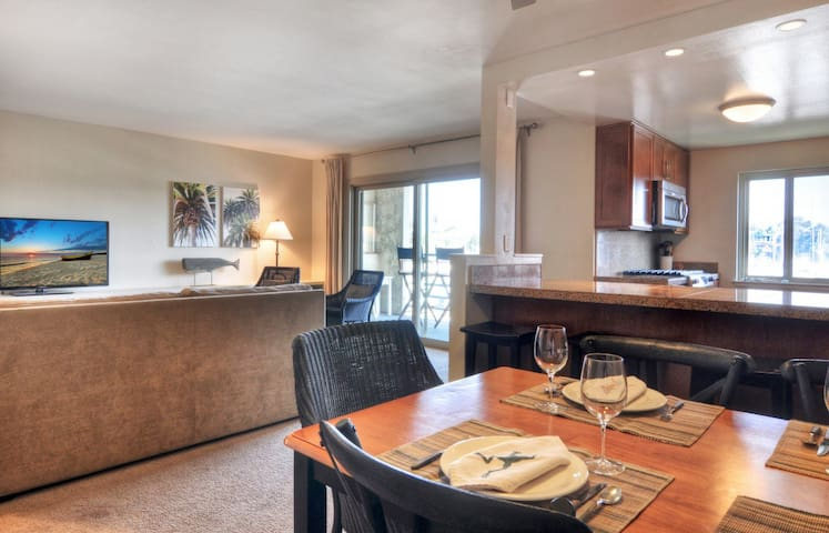Open living with dining, kitchen & living area