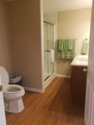 Full bath with double sink and stand up shower.