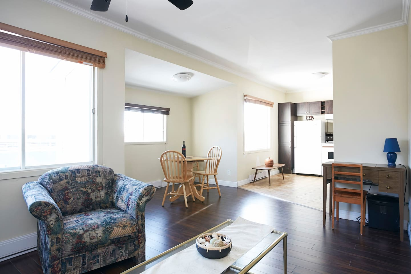 The apartment is the entire top floor. To give you an idea as to the size of the house, approximately 28' by 24'; excluding the storage space for cleaning supplies.