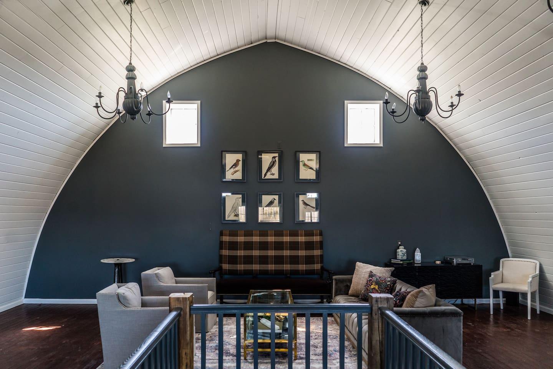 Soaring loft like interior of The Barn.