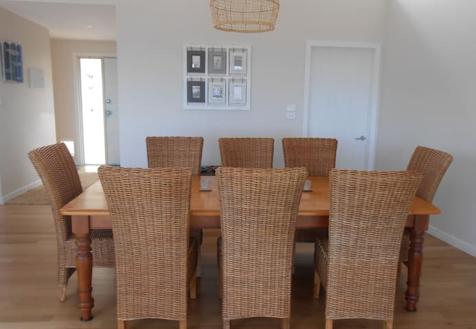 The Huon Pine dining table with seating for 8