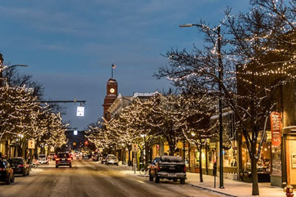 Grab your hot coco and take a stroll on a snowy night underneath the string lit lights.