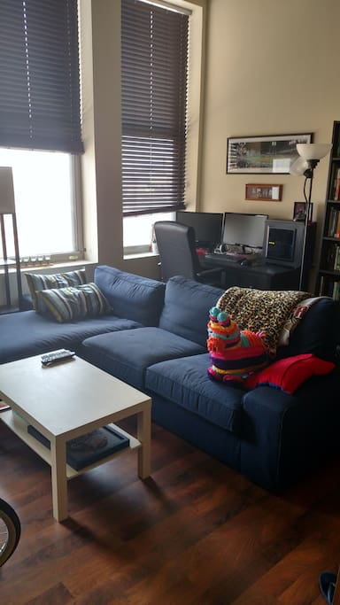 The couch is large enough for someone to sleep on or for everyone to sit on while watching a big screen tv (not shown)