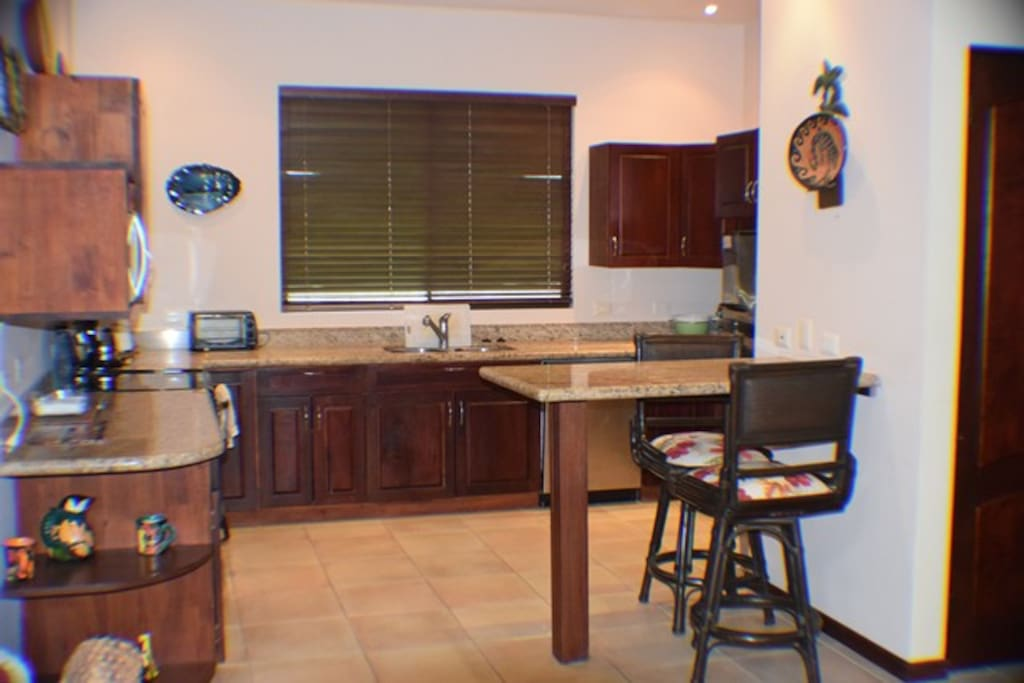 Fully stocked kitchen w/ granite counters, dishwasher, double sink, microwave, toaster oven.